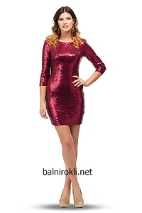 червена къса парти рокля пайети ръкави